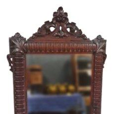Antigüedades - Antiguo espejo de caoba cubana. Siglo XIX. Motivos vegetales. Espectacular!.100x75cm. Ver fotos - 121344443