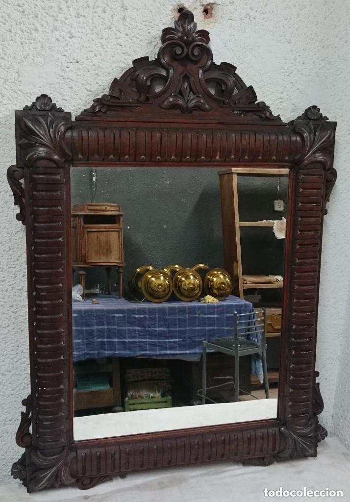Antigüedades: Antiguo espejo de caoba cubana. Siglo XIX. Motivos vegetales. Espectacular!.100x75cm. Ver fotos - Foto 2 - 121344443