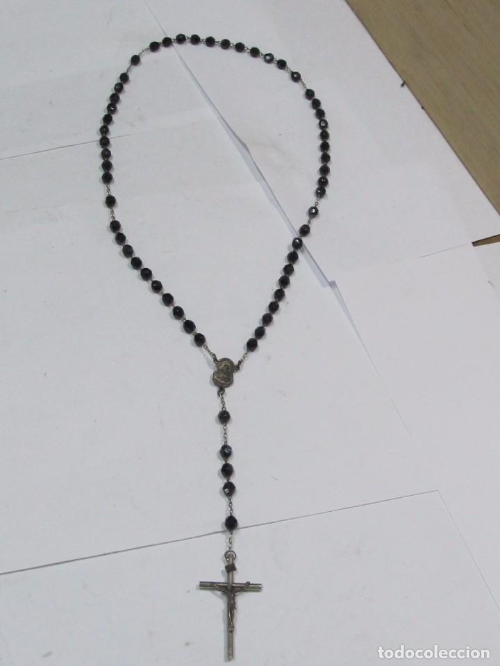 ROSARIO PLATEADO CON BOLAS ONIX (Antigüedades - Religiosas - Rosarios Antiguos)