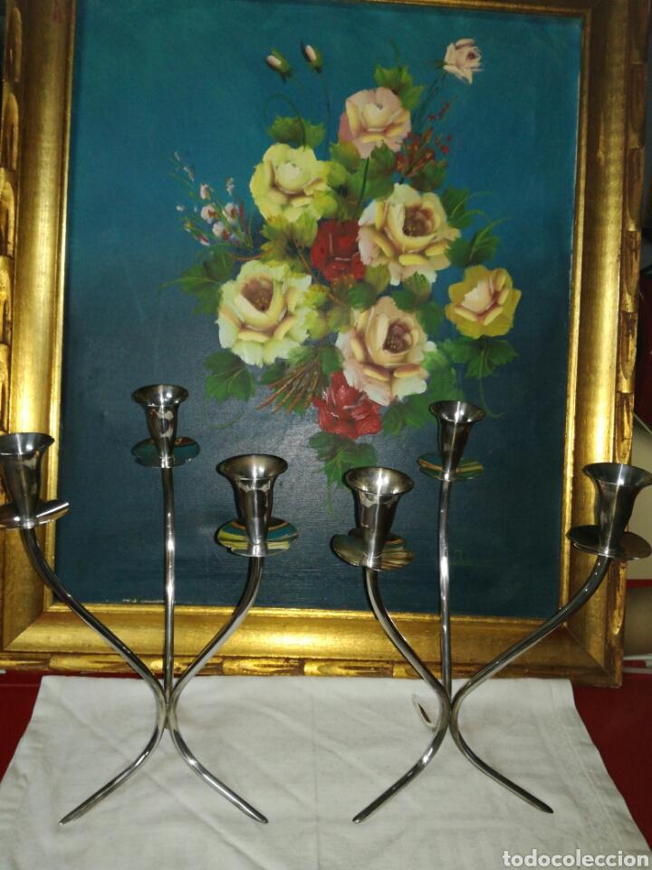 PAREJA DE CANDELABROS ALPACA (Antigüedades - Iluminación - Candelabros Antiguos)