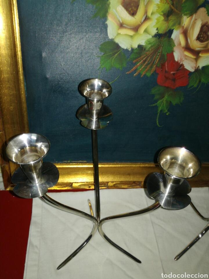 Antigüedades: Pareja de candelabros Alpaca - Foto 4 - 121457610