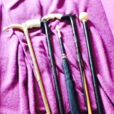 Antigüedades: LOTE DE 4 BASTONES Y UNA SOMBRILLA ANTIGUOS. Lote 121506223