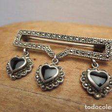 Antigüedades: ANTIQUE/ STERLING BROOCH, JEWELRY, /ONYX MARCASITES,/ HEARTS PENDANT. Lote 121565019