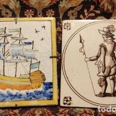 Antigüedades: ANTIQUE/ DELFT TILES ONE NAUTICAL /SHIP OTHER/ SOLDIER WITH SPEAR/ 18TH-/19 TH CENTURY. Lote 121565191