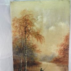 Antigüedades: 19TH18TH CENTURY OIL ON CANVAS BO/OF FISHERMEN,SIGNED/ J.SWIFT. Lote 121565211