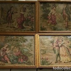 Antigüedades: SET OF 4 FRENCH TAPESTRIES TAPESTRY , STUNNING FLORAL AND GOLD GILT FRAMES ROMANTIC 17TH CENTURY/ . Lote 121565375