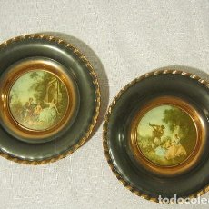 Antigüedades: VINTAGE/ COPPE/R WALL PLATES WITH/ NICOLAS LANCRET CLASSI/C ART WORKS MADE/ IN BELGIUM. Lote 121565391
