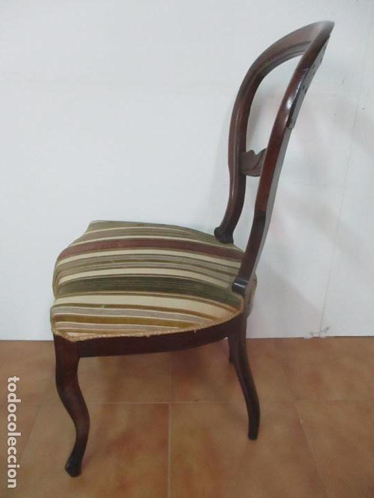 Antigüedades: 4 Sillas Isabelinas (Ditada) - Silla, Madera Jacarandá - Tapicería Correcta - S. XIX - Foto 6 - 121578827
