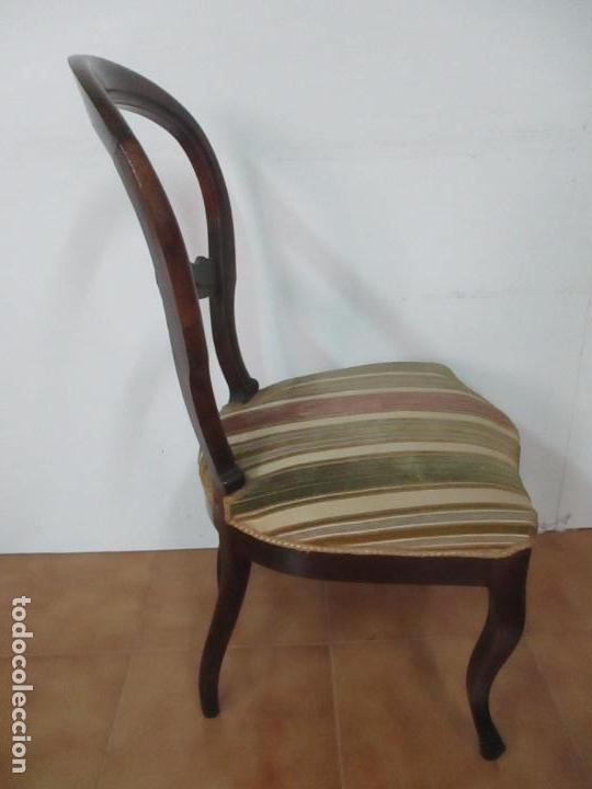 Antigüedades: 4 Sillas Isabelinas (Ditada) - Silla, Madera Jacarandá - Tapicería Correcta - S. XIX - Foto 16 - 121578827