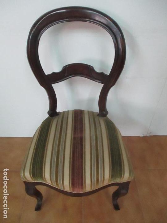 Antigüedades: 4 Sillas Isabelinas (Ditada) - Silla, Madera Jacarandá - Tapicería Correcta - S. XIX - Foto 19 - 121578827
