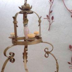 Antigüedades: ANTIGUA LAMPARA HIERRO ORO, RUSTICA, IDEAL TERRAZA, CASA RURAL , DECORACION. Lote 121581343