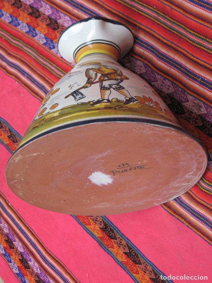 Antigüedades: JARRA EN CERAMICA PINTADA Y VIDRIADA - BASE MUY GRANDE - - Foto 6 - 153813349