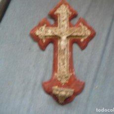 Antigüedades: ESPECTACULAR CRUZ-BENDITERA ANTIGUA TIPO BARROCA CALADA CON CRISTO . 35 X 22 CMS. Lote 121652479