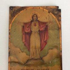 Antigüedades: CHAPA PLACA HOJALATA CROMOLITOGRAFIADA. SAGRADO CORAZÓN DE JESUS. BASTANTE RARA.. Lote 121652887