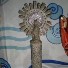 Antigüedades: BONITA FIGURA VIRGEN DEL PILAR AÑOS 70 EN PASTA DURA 25 CM DE ALTURA. Lote 121660503