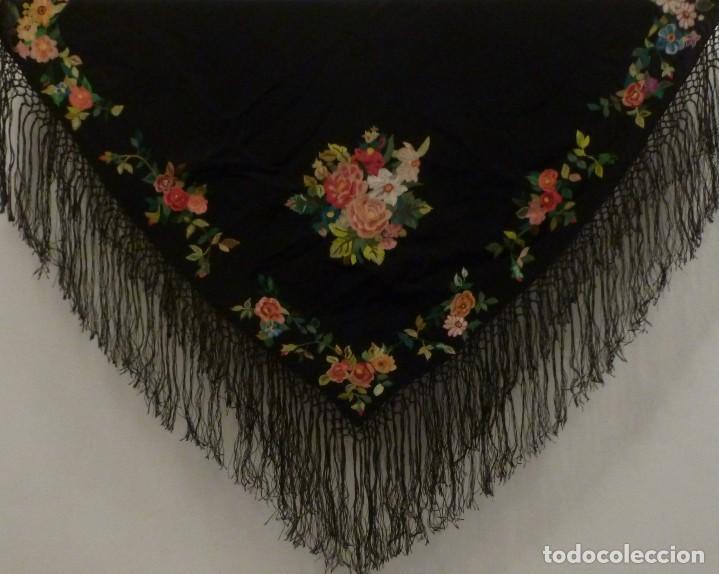 ANTIGUO MANTÓN ART DECO BORDADO CADENETA - BOBINE - INDUMENTARIA - AÑO 1920 (Antigüedades - Moda - Mantones Antiguos)