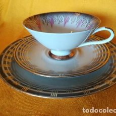 Antigüedades: BELLO TRIO. TAZA + 2 PLATOS. PORCELANA BAVARIA. BONITOS COLORES Y DORADOS. LEER DESCRIPCIÓN. C 1950. Lote 121674671