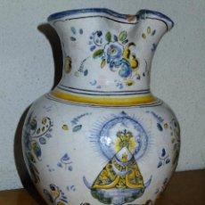 Antigüedades: JARRA DE TALAVERA ( TOLEDO) FIRMADA CHACÓN ,CON LA VIRGEN DEL PRADO Y FLORES.. Lote 121677323