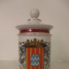 Antigüedades: BONITO BOTE FARMACIA - FRASCO, ALBARELO PORCELANA - CON TAPÓN - ESCUDO GIRONA. Lote 121713071