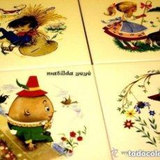 Antigüedades: CUATRO ANTIGUOS AZULEJOS VITROCERÁMICA ESPAÑA PERSONAJES DE CUENTOS INFANTILES. Lote 121724759