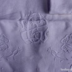 Antigüedades: SABANA ANTIGUA DE HILO BORDADA CON INICIALES. Lote 121732079