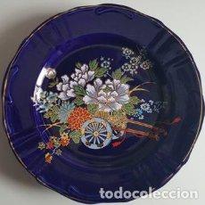 Antigüedades: ANTIGUO PLATO DE CERAMICA JAPONESA MOTIVOS FLORALES - NUEVO SIN USO -. Lote 127800835