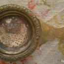 Antigüedades: ANTIGUO COLADOR MODERNISTA PARA TÉ DE LATÓN CON BAÑO DE PLATA.. Lote 121819607