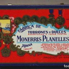 Antigüedades: MONERRIS PLANELLES. LATA ANTIGUA. 22, 5X11, 5X4, 5. Lote 121834467