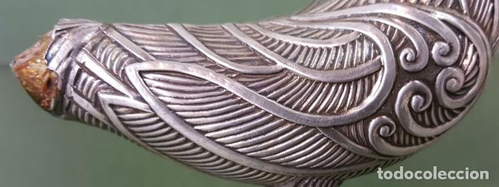 Antigüedades: PAREJA DE FAISANES. PLATA LABRADA. OJOS DE CRISTAL. SIGLO XX. - Foto 8 - 121836531