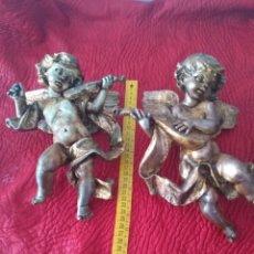 Antigüedades: PAREJA DE ÁNGELES ANTIGUA. Lote 121837222
