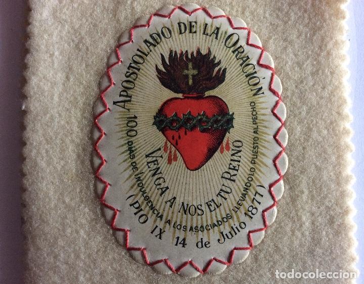 Antigüedades: ESCAPULARIO DE TELA. TIPO DETENTE. SAGRADO CORAZÓN. - Foto 5 - 121842079