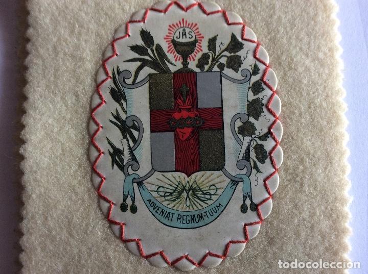 Antigüedades: ESCAPULARIO DE TELA. TIPO DETENTE. SAGRADO CORAZÓN. - Foto 6 - 121842079
