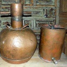 Antigüedades: RARO ALAMBIQUE SIGO XIX, BONITO , TAL Y COMO SE VE EN LAS FOTOS, 54 CM ALTURA , DECORATIVO, COBRE. Lote 150728065
