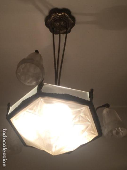 LÁMPARA ANTIGUA ART DECO 1930 FIRMADA (Antigüedades - Iluminación - Lámparas Antiguas)