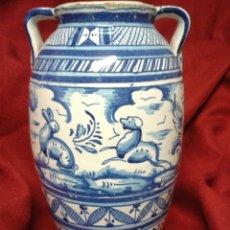 Antigüedades: ANTIGUO JARRON EN CERAMICA ESMALTADA TRIANA. Lote 121878092