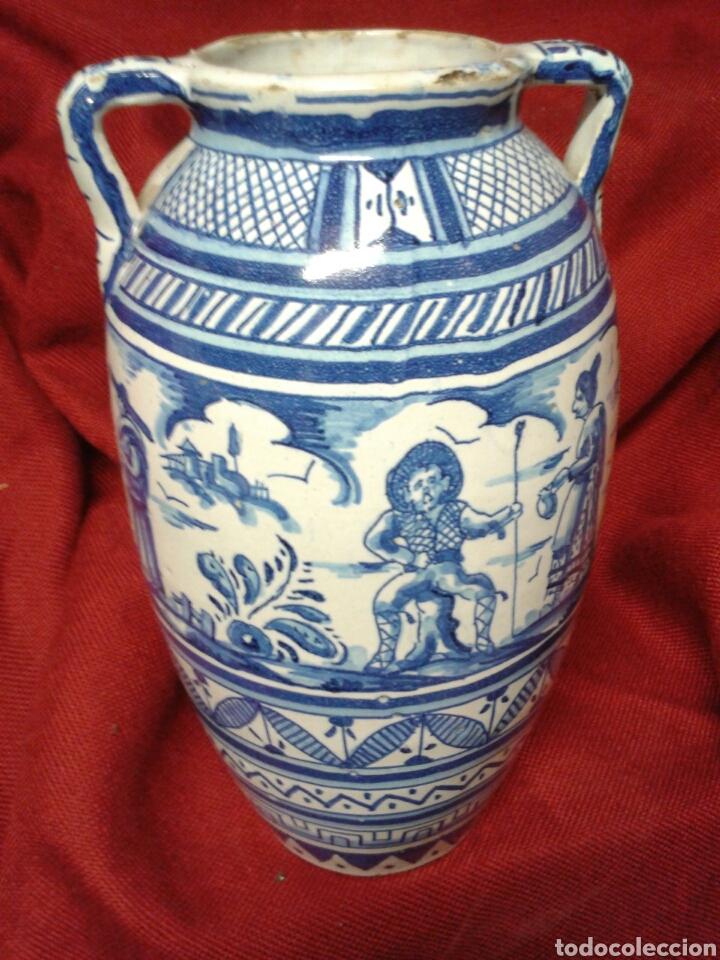 Antigüedades: ANTIGUO JARRON EN CERAMICA ESMALTADA TRIANA - Foto 6 - 121878092