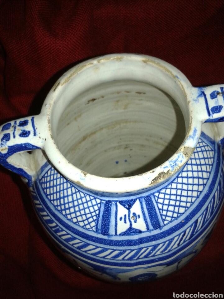 Antigüedades: ANTIGUO JARRON EN CERAMICA ESMALTADA TRIANA - Foto 8 - 121878092