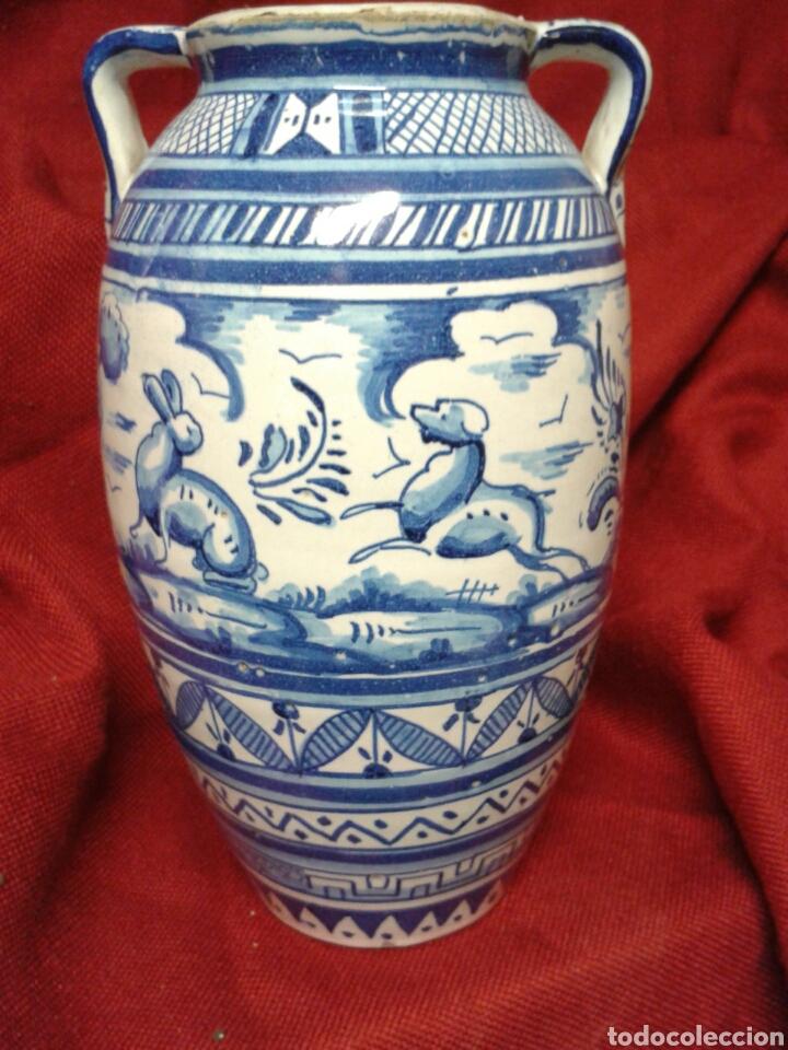 Antigüedades: ANTIGUO JARRON EN CERAMICA ESMALTADA TRIANA - Foto 11 - 121878092