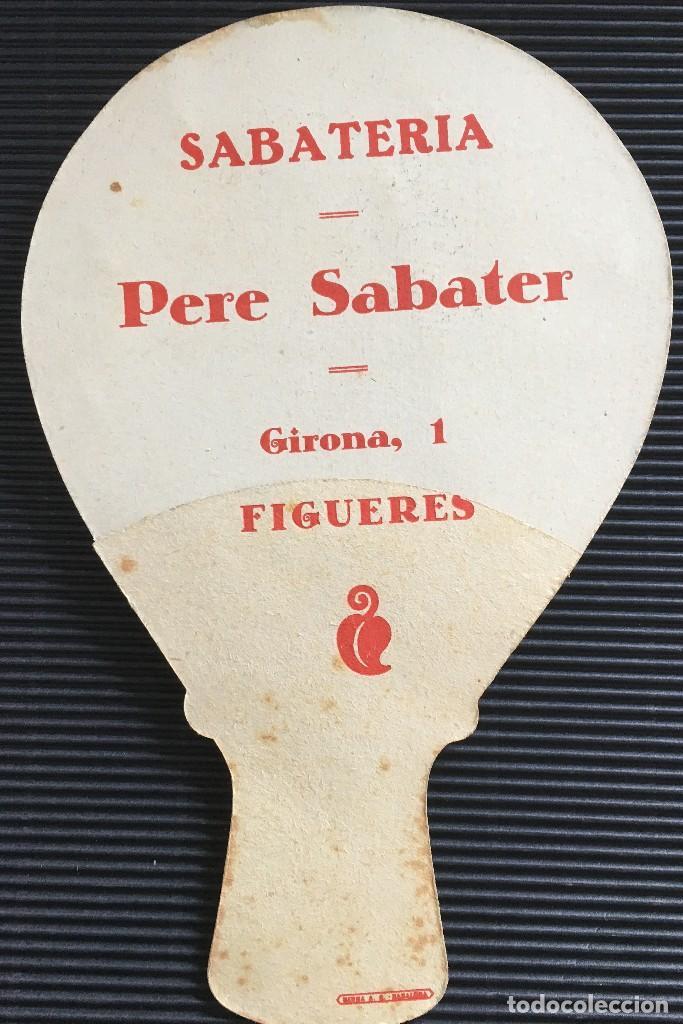 Antigüedades: ANTIGUO Y ELEGANTE ABANICO DE CARTON, CON PUBLICIDAD DE SABATERIA PERE SABATER- FIGUERES - Foto 3 - 121958759
