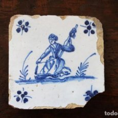 Antigüedades: MUJER BARROCA, SIGLO XVIII, AZULEJO PORTUGUÉS, PORTUGAL. Lote 121962391