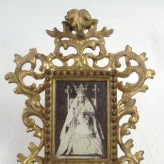 Antigüedades: PEQUEÑO MARCO PORTAFOTOS TIPO CORNUCOPIA DORADA , S.XIX 18,5X22,5 CM.. Lote 121964379
