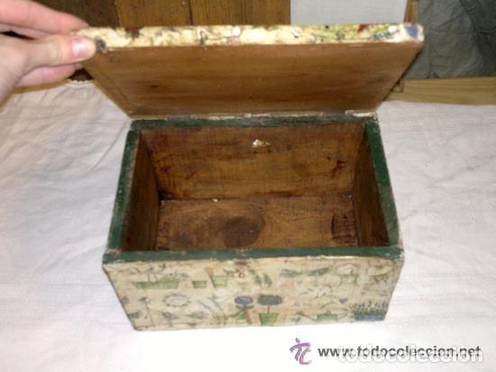 Antigüedades: antigua caja de madera decorada con diversos motivos. Muy graciosa - Foto 4 - 121977383