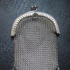 Antigüedades: 45,70 GRAMOS DE PLATA MACIZA - ANTIGUO BOLSO MONEDERO DE MALLA TUPIDA. DOBLE COMPARTIMENTO. Lote 121994871