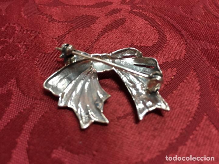 Antigüedades: MAGNIFICO BROCHE LAZO DE PLATA Y BRILLANTES Y CONTRASTE 925 - MEDIDA 3,5 CM - Foto 5 - 122011739