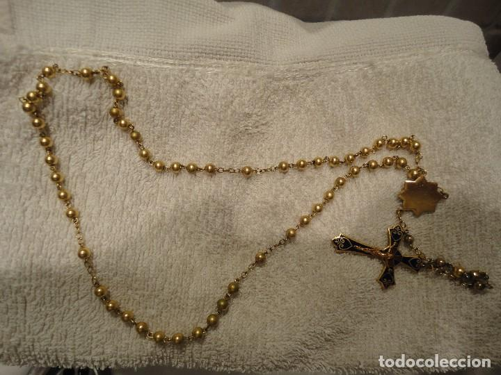 ROSARIO PLATA BAÑO ORO (Antigüedades - Religiosas - Rosarios Antiguos)