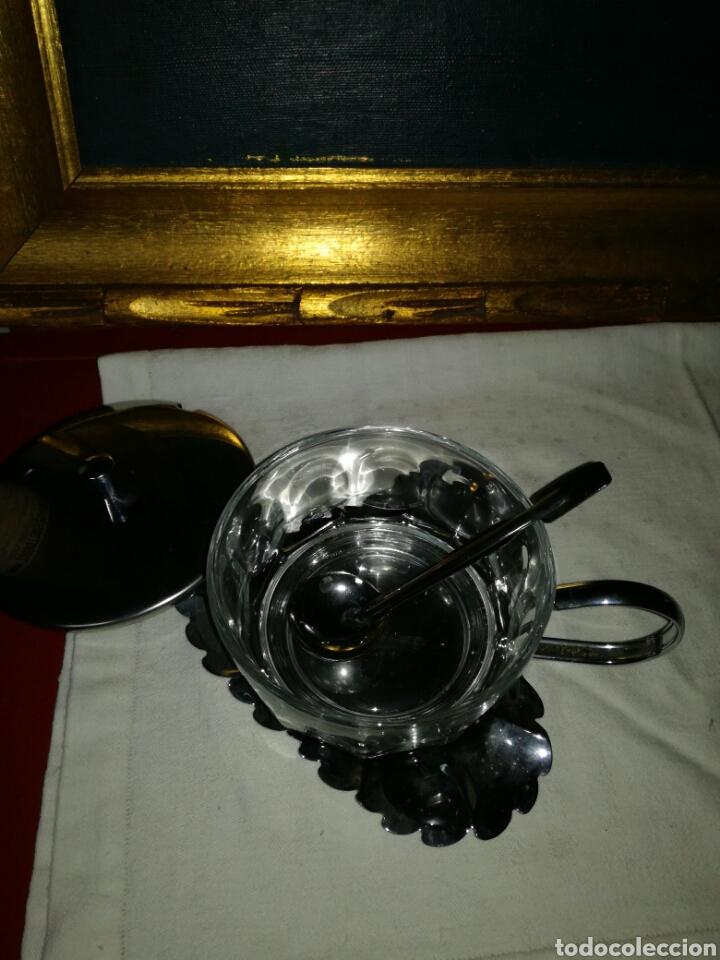 Antigüedades: Azucarero metal y cristal - Foto 2 - 122035196