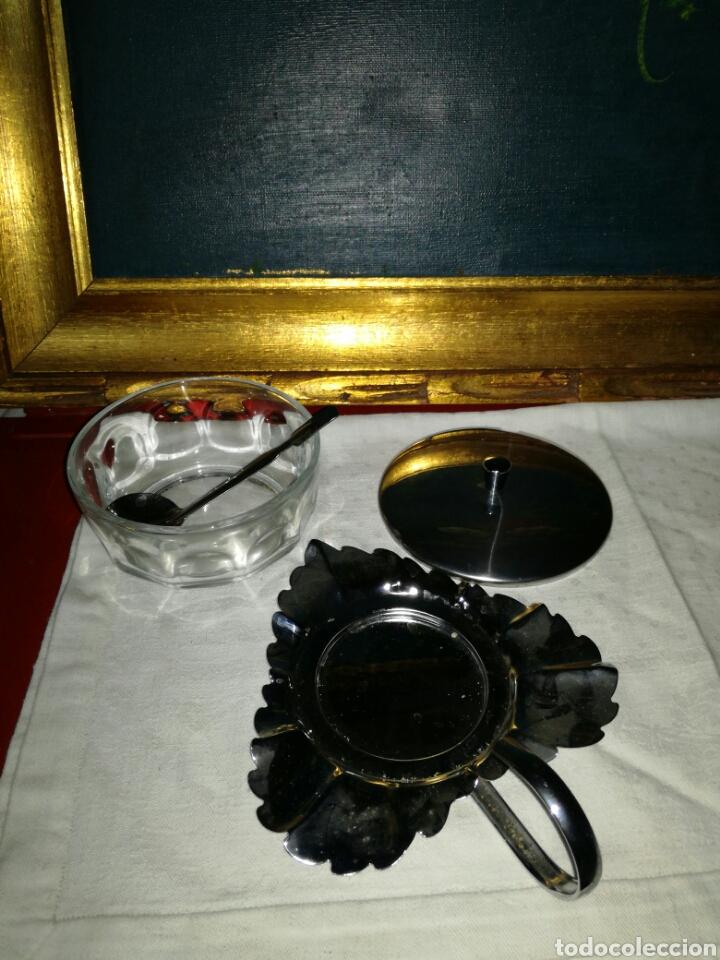 Antigüedades: Azucarero metal y cristal - Foto 3 - 122035196