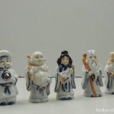 Antigüedades: VINTAGE COLECCION DE FIGURAS CHINAS DE PORCELANA BONITOS DETALLES PIEZAS DE COLECCIÓN. Lote 122044611