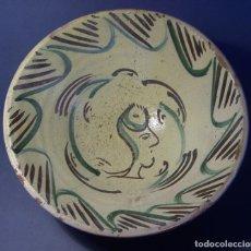 Antigüedades: GRAN Y ROTUNDO PLATO CERÁMICA DE TERUEL XIX . Lote 122062795