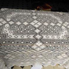 Antigüedades: ANTIGUO ORIGINAL MANTEL MESA REALIZADO A MANO HILO 240 X 210 CM PARA PAÑO ALTAR SEMANA SANTA.. Lote 122067775